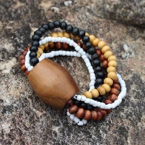 Jewelry - Wood Teak Natural Stretch Bracelet